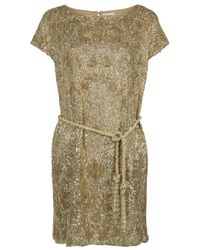 Marchesa | Metallic Sequin and Bead Belted Dress | Lyst