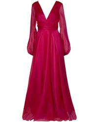 Reem Acra | Red Organza Drape Gown | Lyst