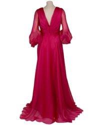 Reem Acra | Red Organza Drape Gown | Lyst