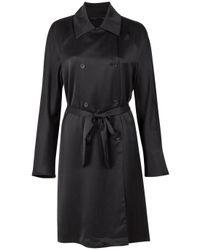The Row - Black Theton Silk Trench Coat - Lyst