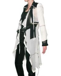Ann Demeulemeester | Black Printed Georgette Coat | Lyst