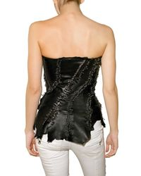 Balmain - Black Leather Bustier Top - Lyst