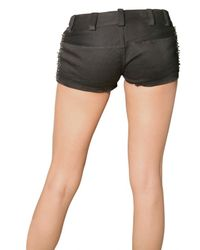 Balmain | Black Safety Pin Side Drill Cotton Shorts | Lyst