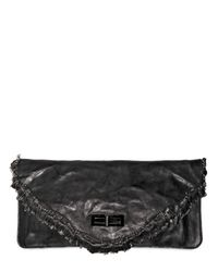 Balmain | Black Ultimate Safety Pins Distressed Clutch | Lyst
