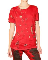 Balmain | Red Torn T Shirt | Lyst