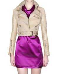 Burberry Prorsum | Natural Gabardine & Leather Jacket | Lyst