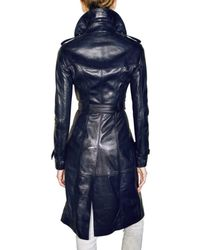 Burberry Prorsum - Blue Soft Leather Trench Coat - Lyst