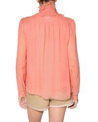 Chloé Pink Ruffled Silk-chiffon Blouse