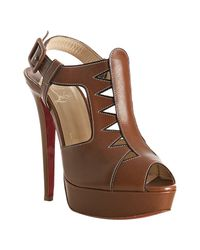 Christian Louboutin | Light Brown Leather Volnay 140 Slingback Sandals | Lyst