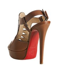 Christian Louboutin - Light Brown Leather Volnay 140 Slingback Sandals - Lyst