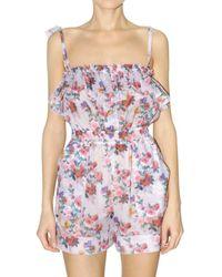 Dolce & Gabbana | White Printed Peonie Cotton Muslin Jumpsuit | Lyst