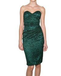 Dolce & Gabbana | Green Stretch Satin and Lace Bustier Dress | Lyst