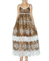 Dolce & Gabbana | Multicolor Leopard Silk Chiffon and Macrame Dress | Lyst