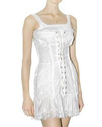 Dolce & Gabbana - White Lace Up Long Canvas Bustier Top - Lyst