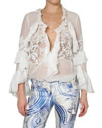 Emilio Pucci | White Embroidered Voile Ruffle Shirt | Lyst