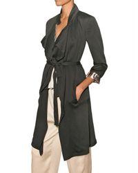 Etro | Black Crinkled Viscose Trench Coat | Lyst