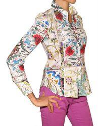 Etro | Multicolor Flower Print Stretch Poplin Shirt | Lyst