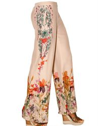 Etro - Multicolor Printed Envers Satin Trousers - Lyst