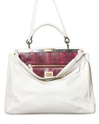 Fendi - White Peek A Boo Large Python Top Handle - Lyst
