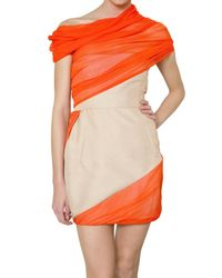 Giambattista Valli | Orange Silk Shantung and Chiffon Dress | Lyst