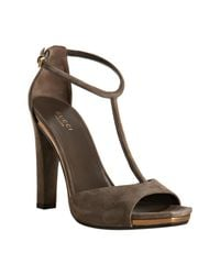 Gucci | Brown Grey Suede Daisy T-strap Sandals | Lyst