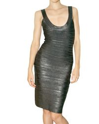 Hervé Léger | Metallic All Over Foil Spandex Dress | Lyst