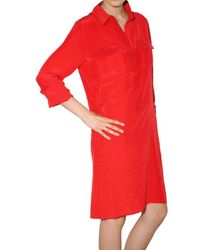 JOSEPH - Red Silk Crepe De Chine Pocketed Shirt Dress - Lyst
