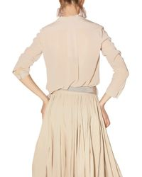Lanvin | Natural Pleated Stretch Crepe Voile Shirt | Lyst
