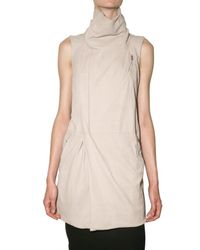 Rick Owens - Natural Long Blister Leather Vest - Lyst