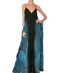 Roberto Cavalli | Blue Long Printed Chiffon Dress | Lyst