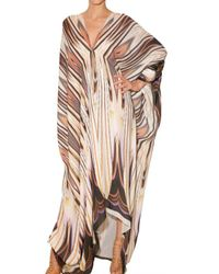 Roberto Cavalli | White Printed Chiffon Kaftan Dress | Lyst