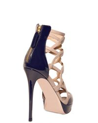 Valentino | Blue 120mm Patent Nappa Cage Sandals | Lyst