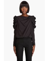 Viktor & Rolf | Black Draped Sleeve Blouse | Lyst