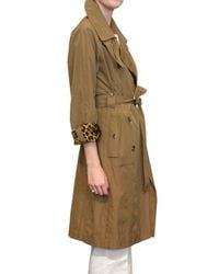 Saint Laurent - Brown Leopard Lining Nylon Trench Coat - Lyst