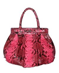 Zagliani | Pink Shiny Python Puffy Medium Top Handle | Lyst