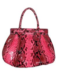 Zagliani - Pink Shiny Python Puffy Medium Top Handle - Lyst