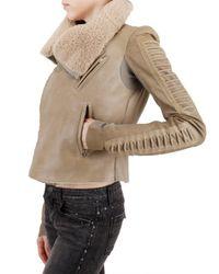 Rick Owens - Natural Shearling Corduroy Biker Leather Jacket - Lyst
