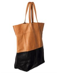 American Retro | Brown Two Tone Leather Tote | Lyst