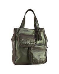 Bottega Veneta - Iridescent Green Leather Multi-pocket Tote - Lyst