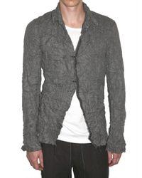 Attachment | Gray Wrinkled Linen Blend Canvas Shirt for Men | Lyst