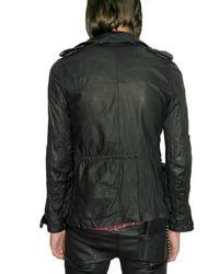 Balmain - Black Calfskin Parka Leather Jacket for Men - Lyst