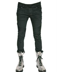 Balmain | Black Slim Fit Cropped Biker Jeans for Men | Lyst