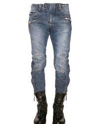 Balmain | Blue New Biker Cropped Denim Jeans for Men | Lyst