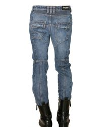 Balmain   Blue New Biker Cropped Denim Jeans for Men   Lyst