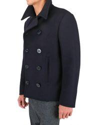 Black Fleece By Brooks Brothers | Blue Wool Melton Pea Coat for Men | Lyst