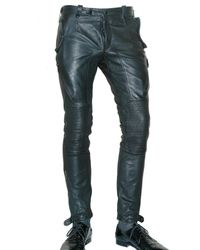 Burberry Prorsum | Black Tumbled Leather Biker Trousers for Men | Lyst