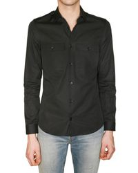 Burberry Prorsum | Black Superfine Wool Silk Mini Corduroy Shirt for Men | Lyst