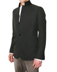 Dolce & Gabbana - Gray Melton Raw Cut Collar Jacket for Men - Lyst