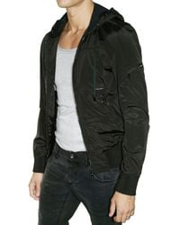 Dolce & Gabbana - Black Hooded Nylon Sport Jacket for Men - Lyst