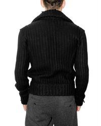 Dolce & Gabbana | Black Thick Ribbed Knit Cardigan Sweater for Men | Lyst